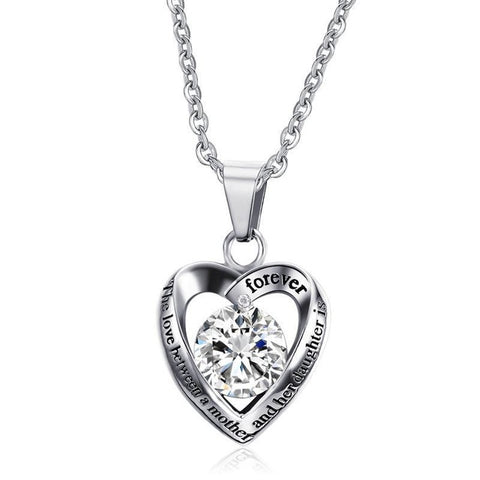 Crystal Heart Stainless Steel Pendant Necklace With Love Phrase Gift For Mother,,[tags] - DeliteShopping
