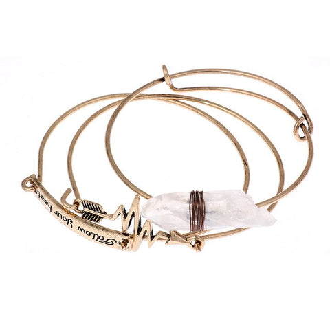 """Follow Your Heart"" Motivational Bangle Bracelet (3 in 1),Bracelet,[tags] - DeliteShopping"