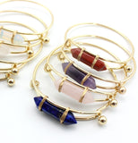 Handmade Geometric Multi Colors Faux Stone Cuff Women Metal Bracelet,,[tags] - DeliteShopping
