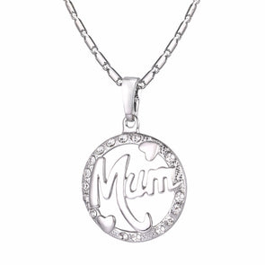 I Love Mom Silver Charm Round Pendant Necklace Gift For Mother,,[tags] - DeliteShopping