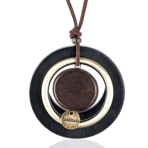 "Vintage ""Handmade"" Wooden Circle Pendant Necklace For Women,,[tags] - DeliteShopping"