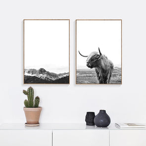 Nordic Modern Highland Cow Abstract Girl Wall Art Canvas Painting Posters Art Prints,Home Decorators,[tags] - DeliteShopping