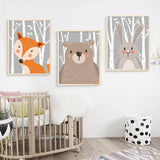 Cheerful Rabbit Fox Bear Cartoon Animal Posters Canvas Art Print Wall Art Kids Room Decoration,Home Decorators,[tags] - DeliteShopping