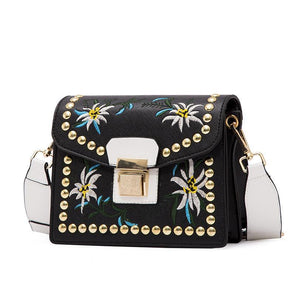 2018 New Women Leather Flower Embroidery Messenger Bag Shoulder Bag,,[tags] - DeliteShopping