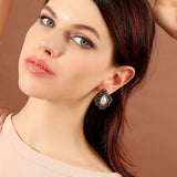 Crystal Star Pearl Resin Geometric Drop Earrings [Flat Price],,[tags] - DeliteShopping