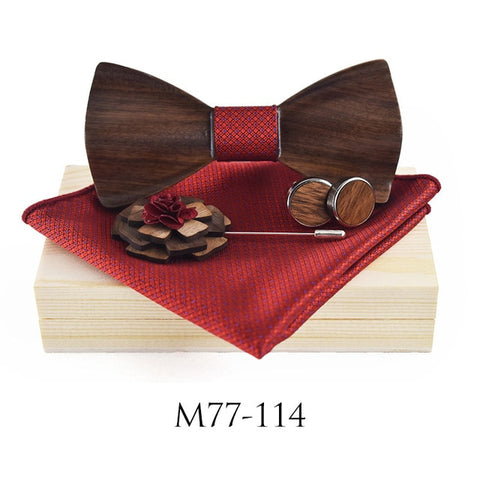 Unique Wooden Bow Tie For Men Women With Wood Box Cufflinks Brooch,,[tags] - DeliteShopping