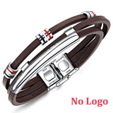 Personalized Vintage Brown Leather ID Bangle for Men,,[tags] - DeliteShopping