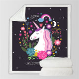 Unicorn Fantasy Soft Velvet Plush Throw Blanket Black Thin Quilt,Home Decorators,[tags] - DeliteShopping