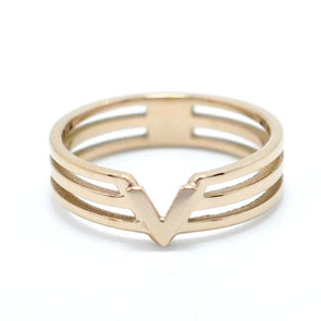 """V"" Design Classic Triangle Rose Gold Rings For Men Women Unisex,,[tags] - DeliteShopping"