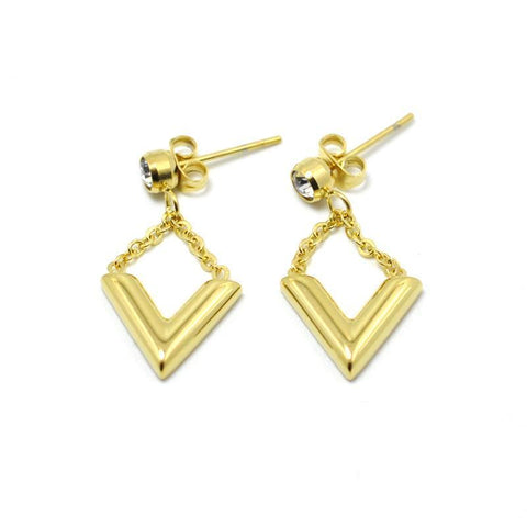 """V"" Design Crystal Triangle Drop Earrings For Women,,[tags] - DeliteShopping"