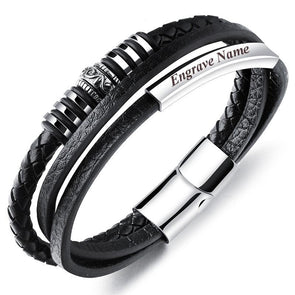 Personalized Multilayer Leather Rope ID Bangle With Magnetic Clasp For Men,,[tags] - DeliteShopping