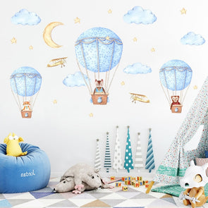 Cartoon Animal Hot Air Balloon Wall Sticker For Kids Rooms,Home Decorators,[tags] - DeliteShopping