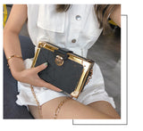 Classy Geometric Pattern Gold Edge Box Style Clutch Bag For Women,,[tags] - DeliteShopping