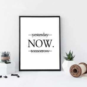 Yesterday Now Tomorrow Minimalism Motivational Posters Canvas Art Print Poster,Home Decorators,[tags] - DeliteShopping