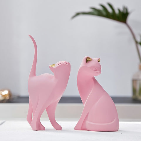 Pink Resin Cat Ornaments Figurine Statue Gift For Cat Lovers,Home Decorators,[tags] - DeliteShopping