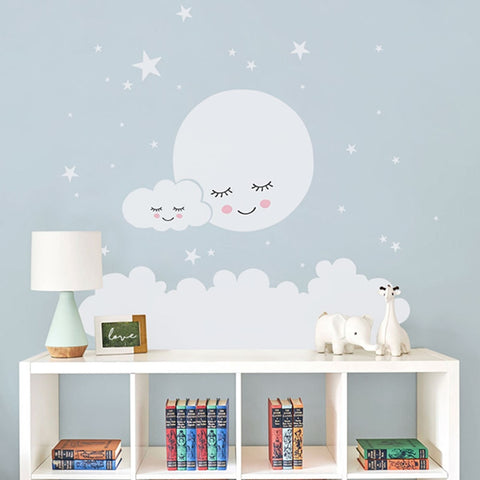 Moon Cloud Stars Nursery Wall Stickers For Kids Room