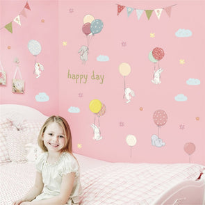 Delight Cartoon Rabbit Balloons Flag Wall Stickers For Kids Room,Home Decorators,[tags] - DeliteShopping