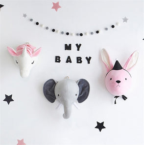 Unicorn Elephant Rabbit Head Pastel Kids' Room Wall Decorator,Home Decorators,[tags] - DeliteShopping