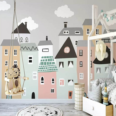 Building Mural Wallpaper For Kids Room (5 materials available)