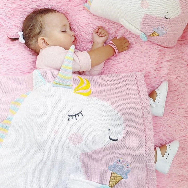 77abb0423227 Handmade Unicorn Knit 3D Pastel Color Blanket For Baby Kids