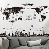 Black World Map Wall Stickers Home Decorators,Home Decorators,[tags] - DeliteShopping