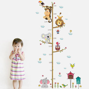 Cute Jungle Animals Height Measure Wall Sticker For Nursery Kids Rooms,Home Decorators,[tags] - DeliteShopping