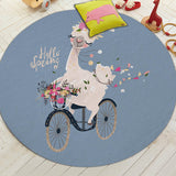Cartoon Style Alpaca Pattern Round Non-Slip Carpet Rug for Living Room Deco,Home Decorators,[tags] - DeliteShopping