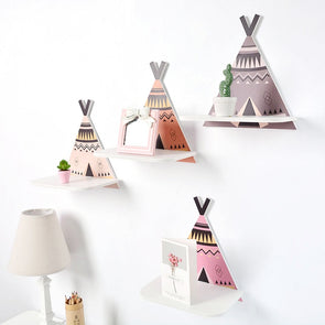 Nordic Style Tepee Wall Shelf Storage Rack For Kids Room,,[tags] - DeliteShopping