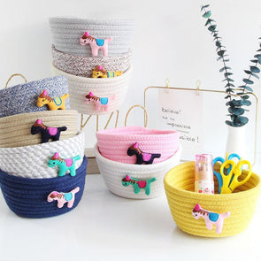 Nordic Style Cartoon Horse Cotton Rope Woven Storage Basket For Kids/Baby Room,Home Decorators,[tags] - DeliteShopping
