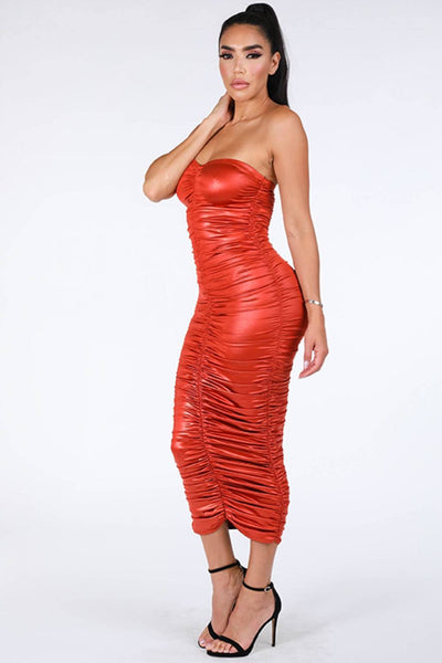 Ruched Tube Midi Dress