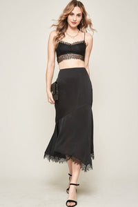 A Solid Woven Midi Skirt-BGG Fashion