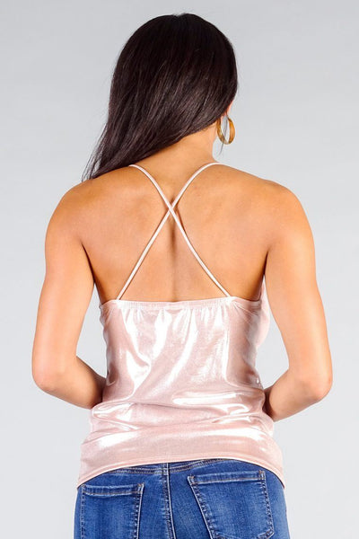 Sparkle Cross Back Cowl Neck Cami