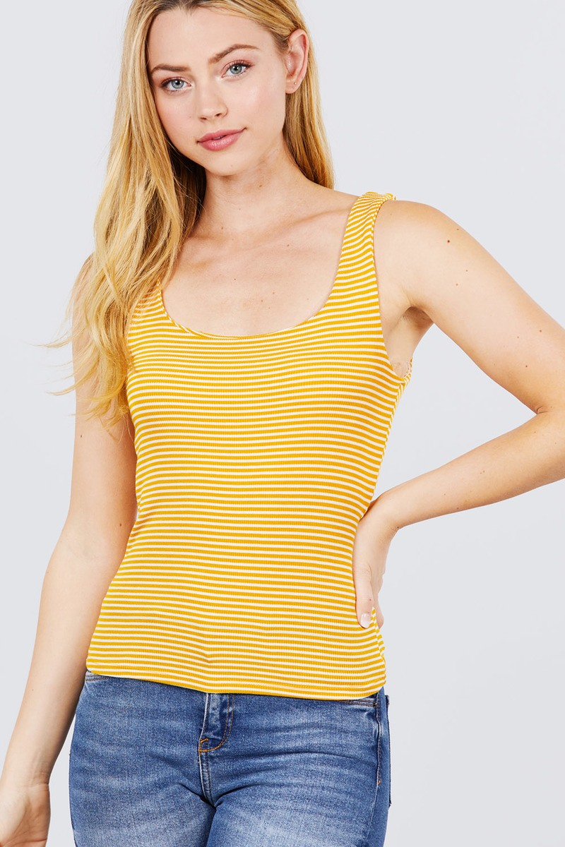 Sleeveless Double Scoop Neck Stripe 2 Ply Rib Knit Top