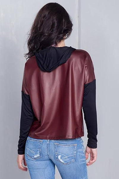 "Burgundy And Black ""jadore"" Silver Graphic Hoodie Top"