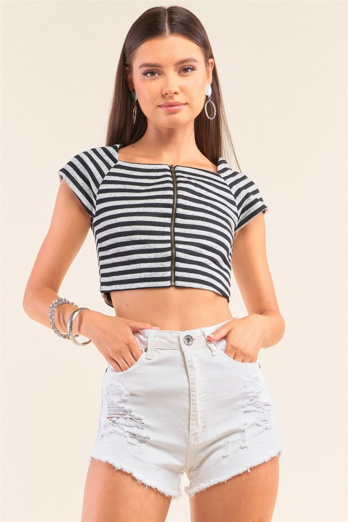 Black And Grey Striped Square Neck Mini Sleeve Cropped Top