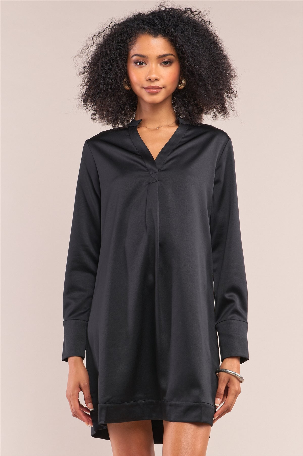 Jet Black Satin V-neck Long Sleeve Relaxed Fit Shirt Dress