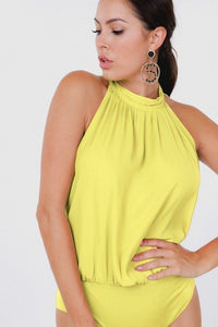 Drape Back Halter Neck Sleeveless Sheer Bodysuit