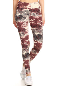 Yoga Style Banded Lined Tie Dye Print, Full Length Leggings In A Slim Fitting