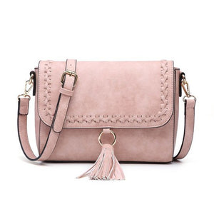 Whipstitch Tassel Crossbody in Pink