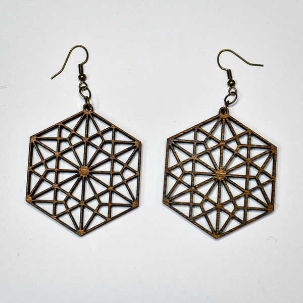 Geometric Lightweight Wooden Dangle Earrings