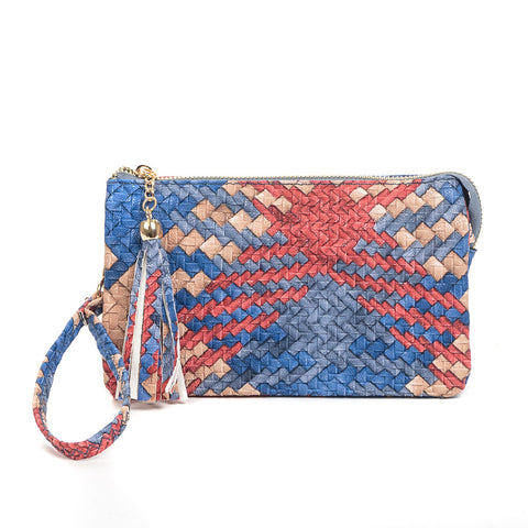 Faux Woven Compartment Wristlet/Crossbody in Blue & Red