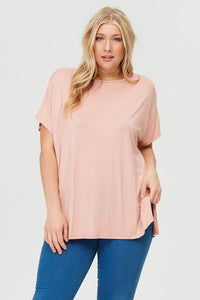 Piko Style Short Sleeve Top in Blush