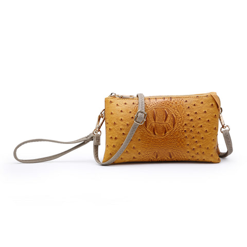 Textured Wristlet Crossbody in Mustard