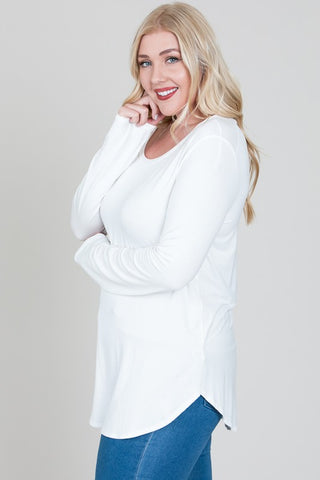 Long Sleeve Basic Top in Ivory