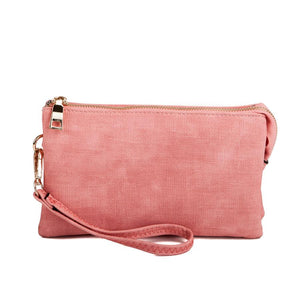 Monogrammable Three-Compartment Canvas Crossbody/Wristlet in Pink