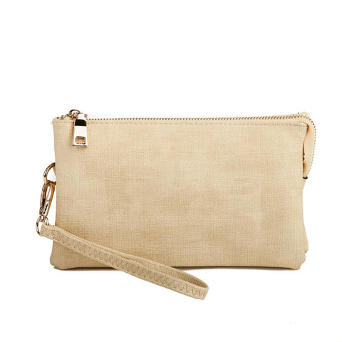 Monogrammable Three-Compartment Canvas Crossbody/Wristlet in Light Yellow