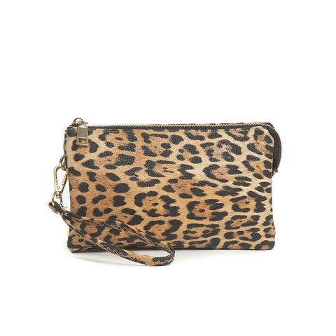 Compartment Wristlet/Crossbody in Leopard Yellow