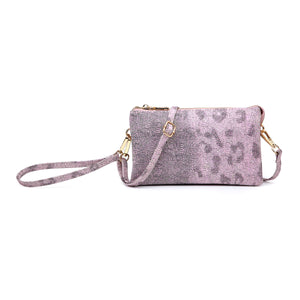 Leopard Compartment Wristlet/Crossbody in Pink & Gray