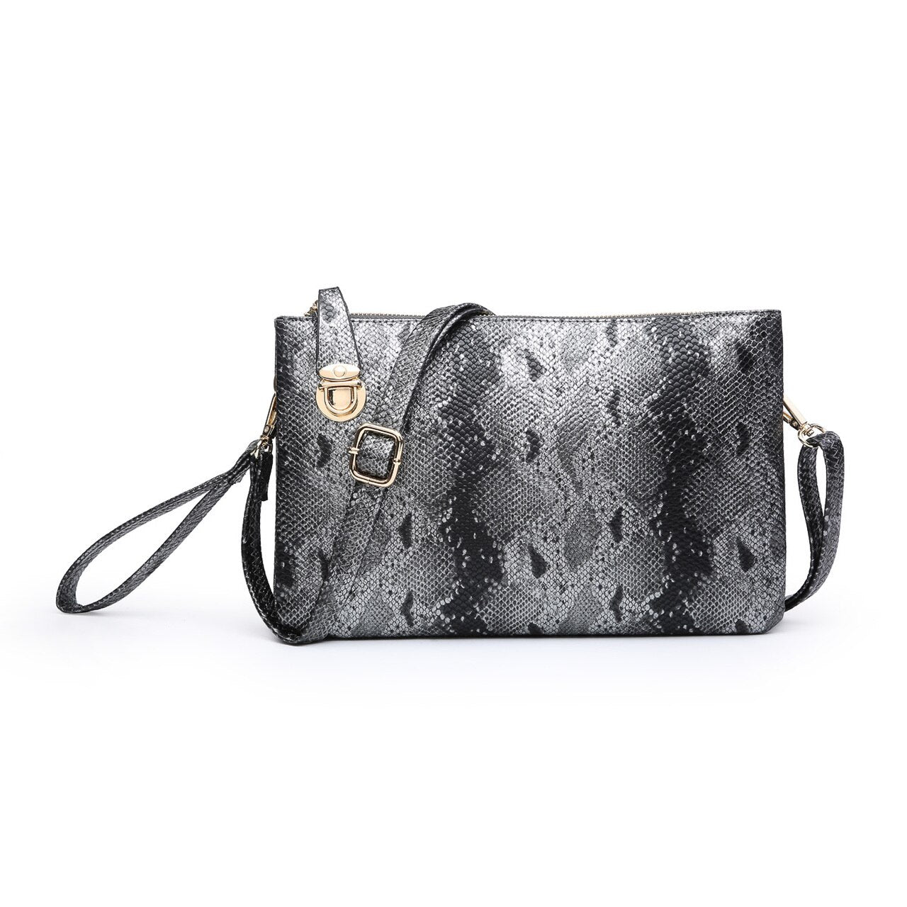 Python Clutch Crossbody in Gunmetal