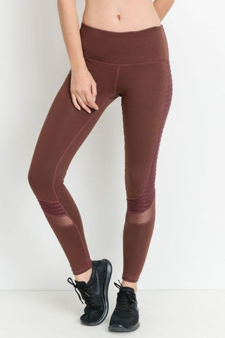 Moto Glide Mesh Leggings in Deep Plum
